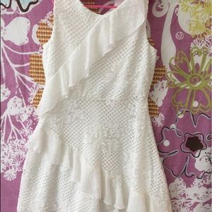 BCBG Girls white ruffle dress